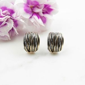 Two-Tone Clip-On Earrings